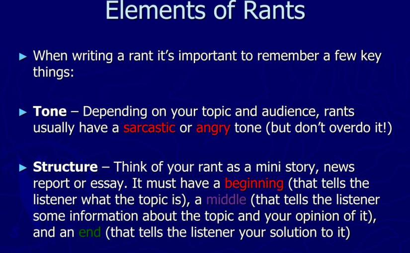 Word of the day, writing rants